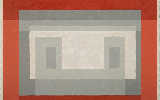 Josef Albers, Casa Blanca B, 1947-1954 Óleo sobre cartón. 41,3 x 60,7 cm Museo Nacional Thyssen-Bornemisza, Madrid © The Joseph and Anni Albers Foundation, VEGAP, Madrid, 2019