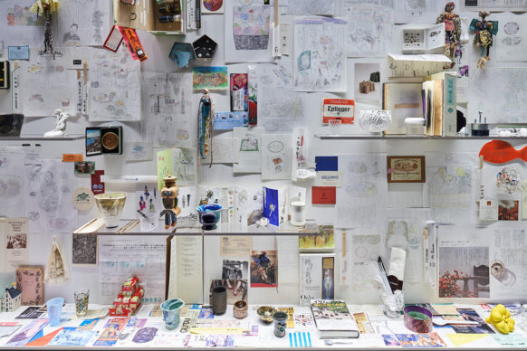 """Vista dell'allestimento della mostra """"Secret Source of Inspiration: Designers' Hidden Sketches and Mockup"""" ‒ I progetti di Ryu Niimi. Photo Masaya Yoshimura"""
