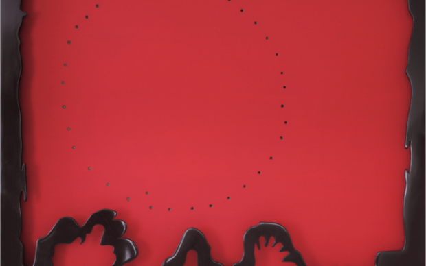Lucio Fontana, Concetto spaziale, teatrino, 1965-66, idropittura su tela, rosso e legno laccato rosso, 89 x 101 cm, collezione privata.STUDIO D'ARTE GR