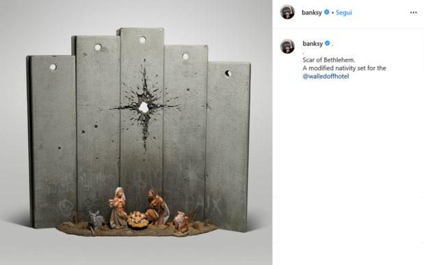 Il presepe di Banksy a Betlemme. Via InstagramIl presepe di Banksy a Betlemme. Via Instagram