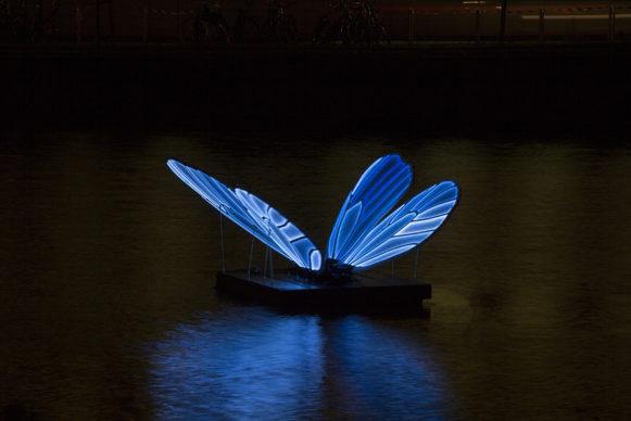 Butterfly Effect by Masamichi Shimada. Amsterdam Light Festival 2019. Photo Copyright Janus van den Eijnden