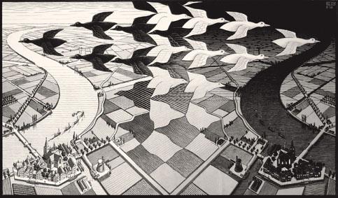 Maurits Cornelis Escher, Giorno e notte, febbraio 1938, xilografia, 39,1 x 67,7 cm. Collezione privata, Italia All M.C. Escher works © 2019 The M.C. Escher Company. All rights reserved www.mcescher.com