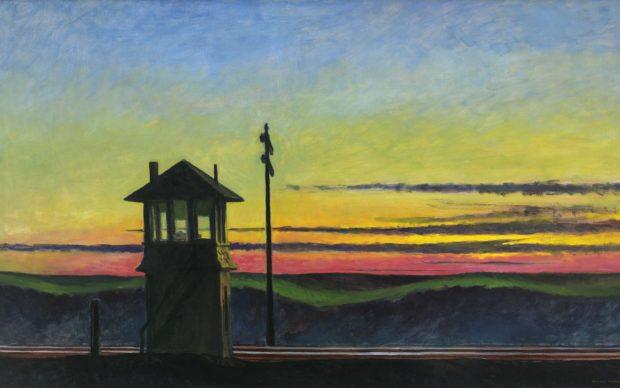 Edward Hopper, Railroad sunset, 1929. Oil on canvas, 74.5 x 122.2 cm. Whitney Museum of American Art, New York; Josephine N. Hopper Bequest, Inv. N.: 70.1170. © Heirs of Josephine Hopper / 2019, ProLitteris, Zurich. Photo: © 2019. Digital image Whitney Museum of American Art / Licensed by Scala