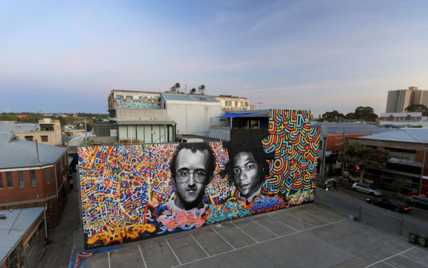 Murale dedicato a Keith Haring e Basquiat, Melbourne 2019, photo credits p1xels