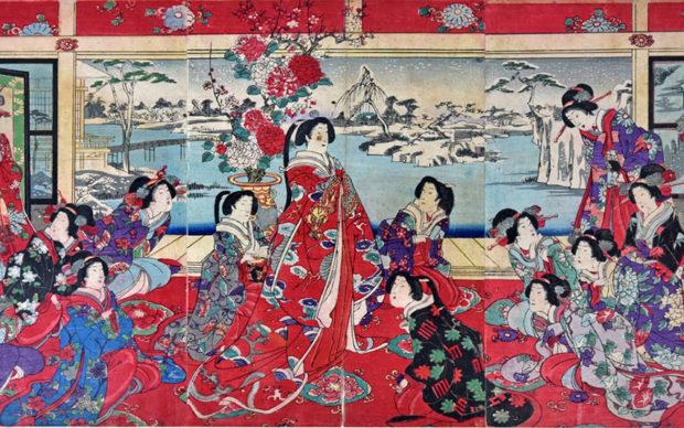 Yoshu Chinkanobu, Passatempi di beltà femminili in un giorno nevoso, trittico di xilografie policrome in formato oban, 35,5x70,5 cm, firmata Il pennello di Yoshu Chikanobu, 1838-1912.