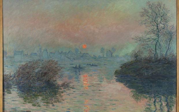 """Claude Monet (1840-1926). """"Soleil couchant à Lavacourt (détail)"""". Huile sur toile. 1880. Musée des Beaux-Arts de la Ville de Paris, Petit Palais"""