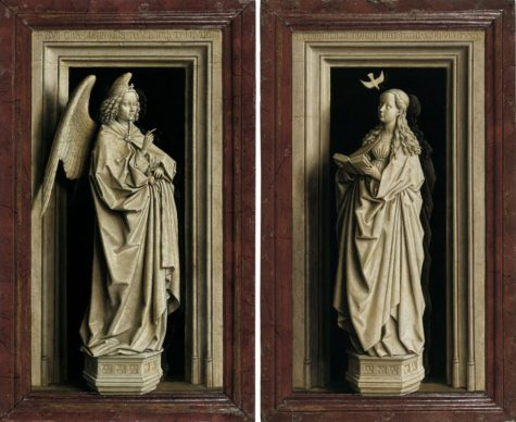 Jan van Eyck, The Annunciation Diptych, c. 1433-1435. Oil on panel Left: 38.8 x 23.2 cm  Right: 39 x 24 cm  Museo Nacional Thyssen-Bornemisza, Madrid