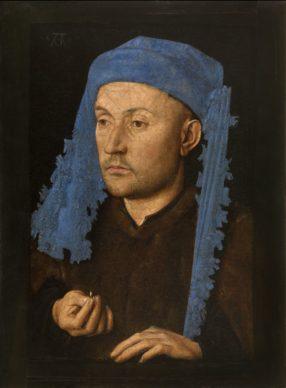 Jan van Eyck, Portrait of a Man with a Blue Chaperon, c. 1428−1430. Oil on panel 22 x 17 cm Muzeul National Brukenthal, Sibiu (Romania)
