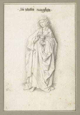 Workshop of Jan van Eyck, The Twelve Apostles, c. 1440. Pen and grey-brown ink, over a preliminary drawing in black metal styles, on paper 203 x 139 mm Albertina, Vienna