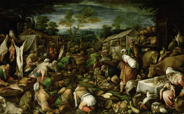 Francesco da Ponte, detto Francesco Bassano, Scena di mercato, 1580-1585 circa, olio su tela, 125 cm × 280 cm, Courtesy KHM-Museumsverband