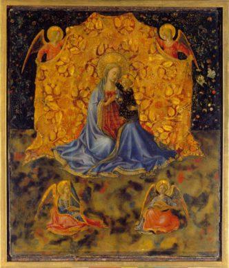 Benozzo Gozzoli, The Madonna with Child and Angels, c. 1449-1450. Tempera on panel 34.7 x 29.4 cm  Fondazione Accademia Carrara, Bergamo