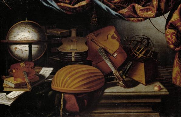 Evaristo Baschenis, Natura morta con strumenti musicali, mappamondo e sfera armillare XVII secolo, olio su tela, 78 cm × 118 cm, Courtesy KHM-Museumsverband