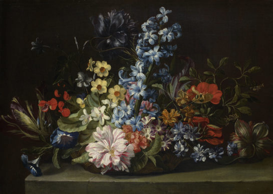 Attribuito a Jan van den Hecke, Cesto di fiori, XVII secolo, olio su tela, 35 cm × 49 cm, Courtesy KHM-Museumsverband