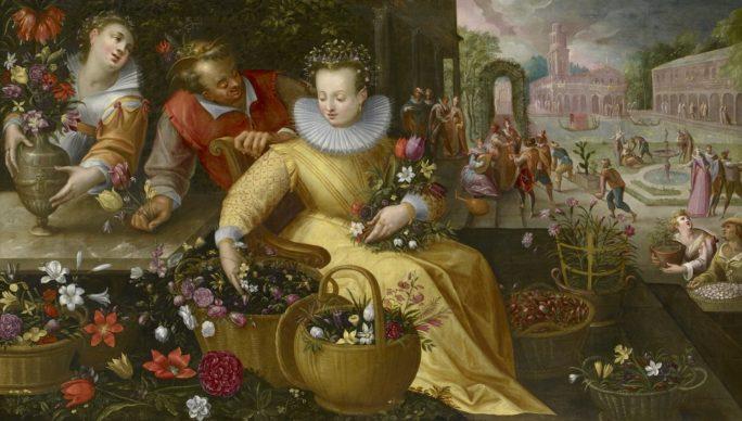 Bottega di Frederik I. van Valckenborch, Mercato dei fiori (primavera), dopo il 1595, olio su tela, 123,5 x 208,5 cm, GG 2203, Kunsthistorisches Museum Vienna, Pinacoteca, Courtesy KHM-Museumsverband