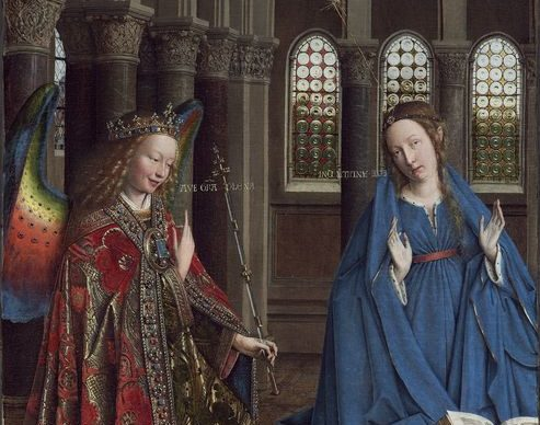 Jan van Eyck, The Annunciation , c. 1434-1436. Oil on panel, transferred onto canvas 92.7 x 36.7 cm National Gallery of Art, Washington, Andrew W. Mellon Collection