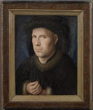 Jan van Eyck, Portrait of Jan de Leeuw, 1436.  Oil on panel 33 x 27,5 cm Kunsthistorisches Museum Wenen, Gemäldegalerie