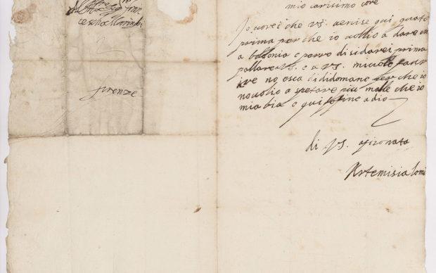 Lettera 3 Firenze 1616-19 Artemisia Gentileschi a F.M.M. (recto). Immagine per gentile concessione dell'Archivio Frescobaldi