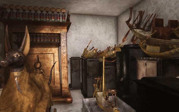 Ricostruzione della visita virtuale alla tomba di Tutankhamon, indossando il visore e impugnando il controller. L'ambiente in 3D, all'interno della tomba del faraone, è stato realizzato da La macchina del tempo di Bologna
