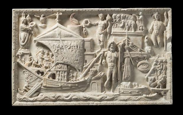 Rilievo con scena di porto. Marmo greco, m. 1,22x0,75 Inv. 430. Collezione Torlonia, © Fondazione Torlonia. Photo Lorenzo De Mas