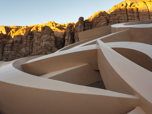eL Seed, Mirage, installation view at Desert X AlUla, photo by Lance Gerber, courtesy the artist, RCU and Desert X