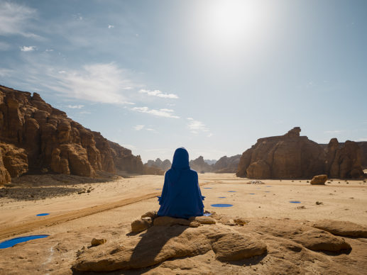 Lita Albuquerque, NAJMA (She Placed One Thousand Suns On The Transparent Overlays Of Space), installation view at Desert X AlUla, photo by Lance Gerber, courtesy the artist, RCU and Desert X