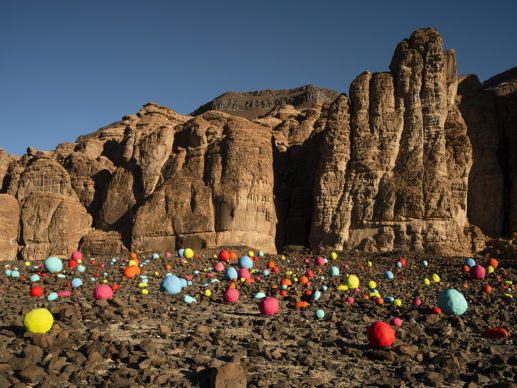 Mohammed Ahmed Ibrahim, Falling Stones Garden, installation view at Desert X AlUla, photo by Lance Gerber, courtesy the artist and Lawrie Shabibi, RCU and Desert X