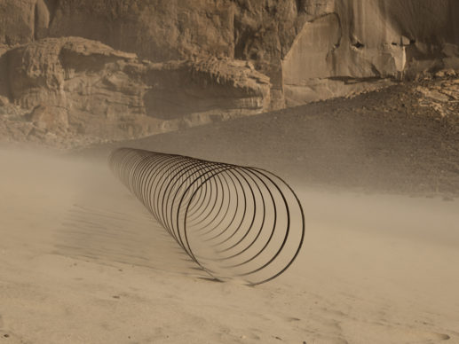 Rayyane Tabet, Steel Rings, from the series, The Shortest Distance Between Two Points, installation view at Desert X AlUla, photo Lance Gerber, courtesy the artist and Sfeir- Semler Gallery Beirut/Hamburg, RCU and Desert X