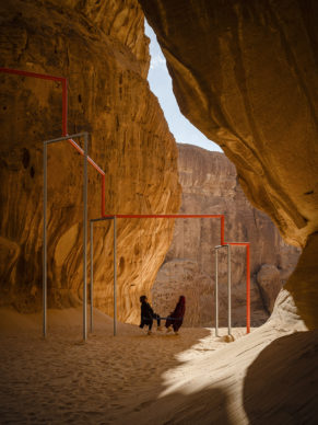 Superflex, One Two Three Swing! Installation view at Desert X AlUla, photo Lance Gerber, courtesy the artist, RCU and Desert X