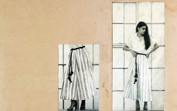 David Abraham's graduate apparel project with printed Khadi fabric (1980) as part of the exhibition bauhaus imaginista: Moving Away. Istanbul at SALT Beyoğlu Courtesy National Institute of Design, Ahmedabad, India