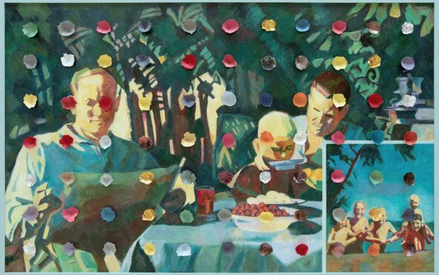 Ilya Kabakov, Holiday#5, 2014, olio su tela, 100,5 x 160 x 8 cm, Collezione Ernesto Esposito (Napoli)