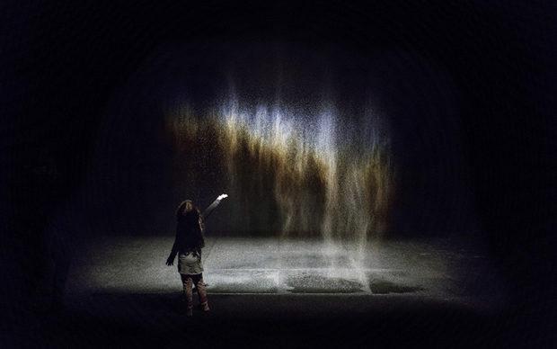 Olafur Eliasson Beauty, 1993 Spotlight, water, nozzles, wood, hose, pump. Dimensions variable. Installation view: Moderna Museet, Stockholm, 2015 Photo Anders Sune Berg, Museum of Contemporary Art, Los Angeles © 1993 Olafur Eliasson