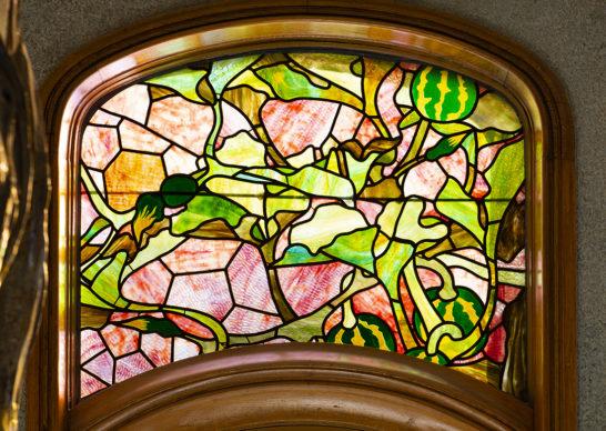 Villa Majorelle Nancy, Jacques Gruber, vitrail à décor de coloquinte (salleà manger) (c)MEN 2019, cliché S. Levaillant
