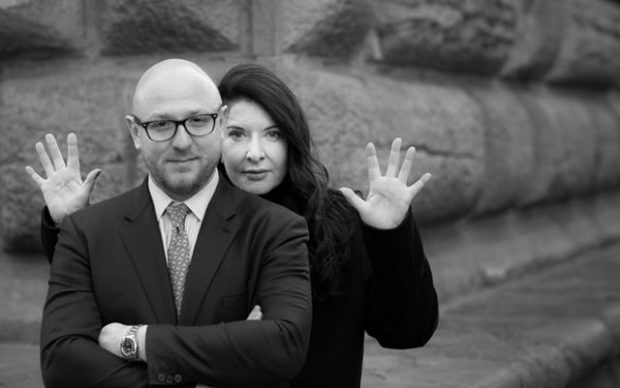 Arturo Galansino, direttore della Fondazione Palazzo Strozzi e Marina Abramović insieme a Firenze, 2019. Photo Alessandro Moggi