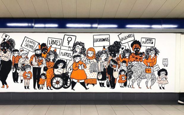 Festa della donna street art Metro Madrid Sara Fratini