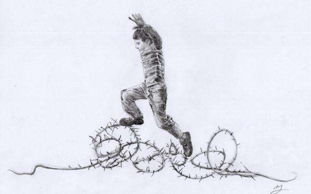 Uno dei disegni di Andrea Mastrovito