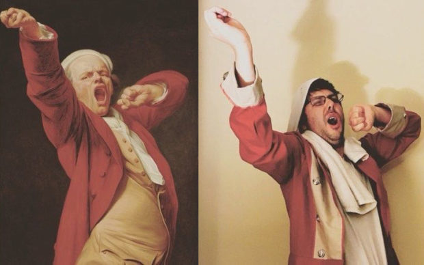 Self-Portrait, Yawning, by 1783, Joseph Ducreux. Oil on canvas, 46 3/8 x 35 3/4 in. The J. Paul Getty Museum, 71.PA.56. Re-creation on Instagram by Paul Morris with British redcoat and twisty towel