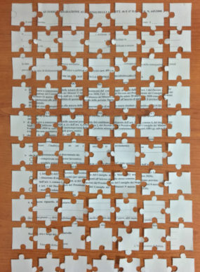 @annbirsa, Puzzle 70 pezzi 1. Courtesy Autocertificazioni illustrate