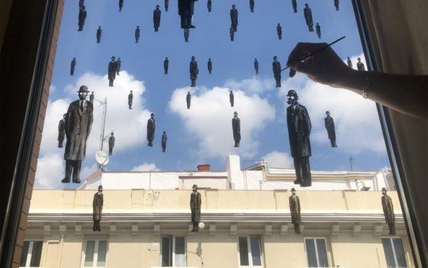 It can't rain all the time (social distancing),credits @pejac_art