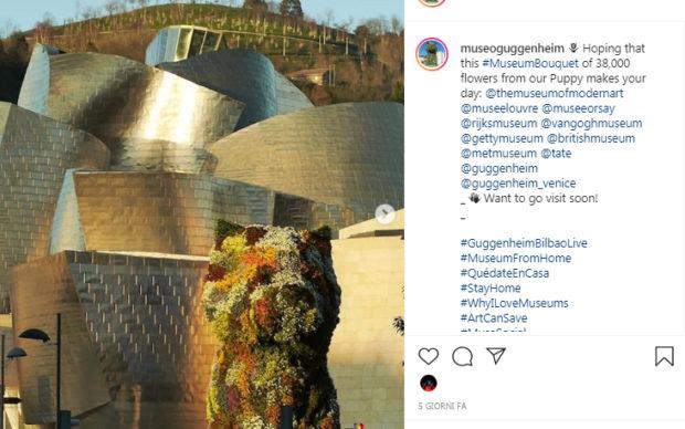 uno screenshot del profilo Instagram del Guggenheim Museum di Bilbao