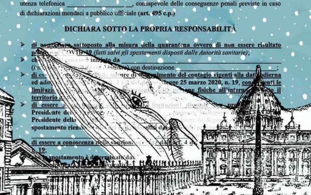 Federico Ruxo, tecnica mista su stampa di Piranesi. Courtesy Autocertificazioni Illustrate