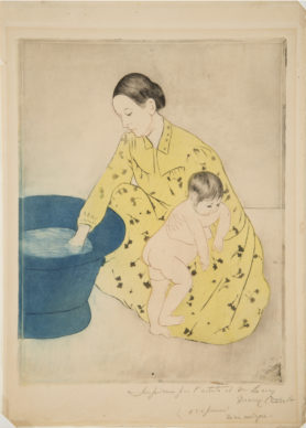 Mary Cassatt, The Bath, 1891; oft-ground etching with aquatint and drypoint on paper, 12 3/8 x 9 5/8 in.; National Museum of Women in the Arts, Gift of Wallace and Wilhelmina Holladay; Photo by Lee Stalsworth