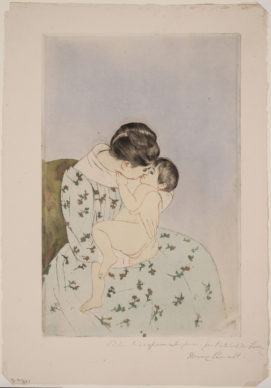 Mary Cassatt, Mother's Kiss, 1890-1891; drypoint and aquatint on paper, 13 3/4 x 9 in.; National Museum of Women in the Arts, Gift of John and Linda Comstock in loving memory of Abigail Pearson Van Vleck; Photo by Lee Stalsworth