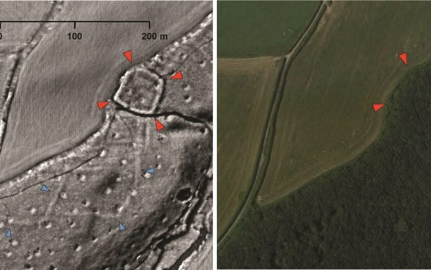 A probable Iron Age or Roman enclosed settlement (red arrows) and associated field system (blue arrows) revealed by LiDAR data but hidden today beneath woodland.