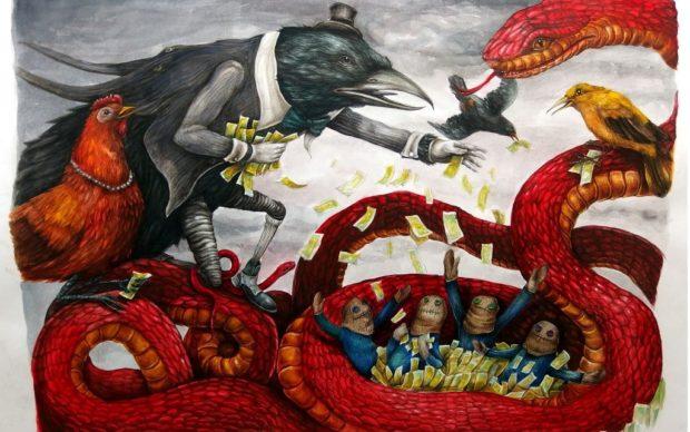 Ericailcane, Rockfeller, tecnica mista su carta, 40 x 60 cm, 2016. Courtesy l'artista
