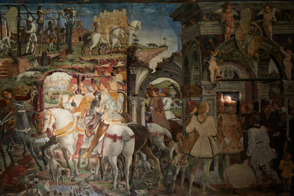 Ferrara, Palazzo Schifanoia,  Francesco del Cossa-Marzo,1469-70, parete est dettaglio: Scene di vita corte di Borso d'Este. Photo Henrik Blomqvist