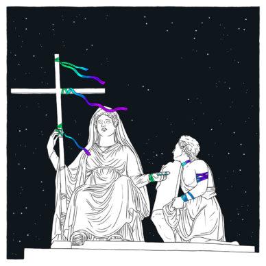 Statua della Religione, un'illustrazione di Adam Tempesta. Courtesy l'artista