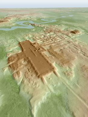 3D image of the site of Aguada Fénix based on lidar. Credit Takeshi Inomata