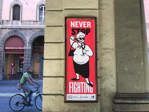 """Ilaria Grimaldi per """"La lotta è FICA"""" un progetto di public art di CHEAP. Photo Michele Lapini"""