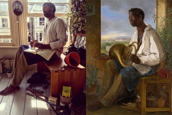 Albert Schindler, Portrait of a gardener and horn player in the household of the emperor Francis I (1836). Reworked by Peter Brathwaite with a picture of a planter ancestor (Miles Brathwaite), pipes and Caribbean tea. Rediscovering #blackportraiture through #gettymuseumchallenge. #gettychallenge