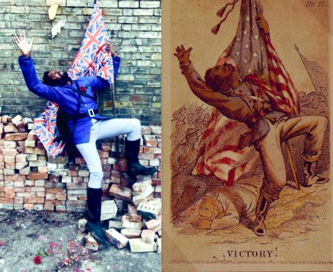 Henry Louis Stephens, Victory! (1863). A runaway slave becomes a Union soldier and is struck down fighting for Liberty. Reworked by Peter Brathwaite with roses, dish clothes and Union Flag fabric. Rediscovering #blackportraiture through #gettymuseumchallenge. #gettychallenge